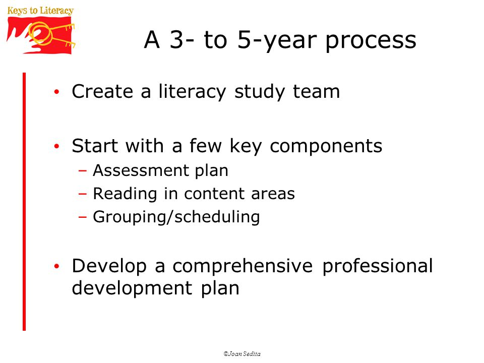 ©Joan Sedita A 3- to 5-year process Create a literacy study team Start with a few key components –Assessment plan –Reading in content areas –Grouping/scheduling Develop a comprehensive professional development plan