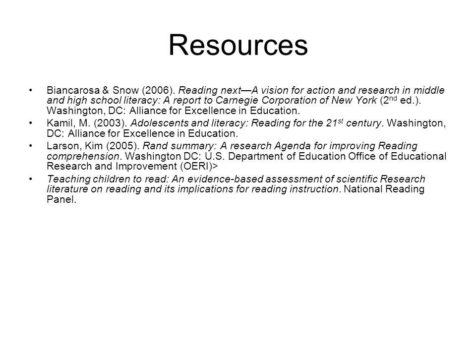 Resources Biancarosa & Snow (2006).