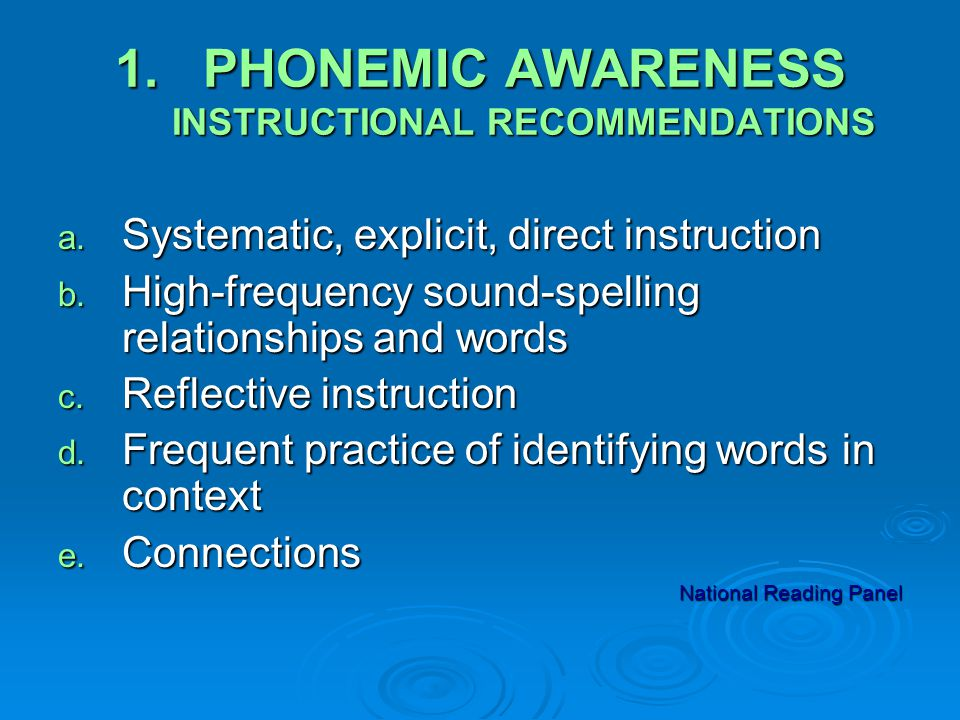 1.PHONEMIC AWARENESS INSTRUCTIONAL RECOMMENDATIONS a.