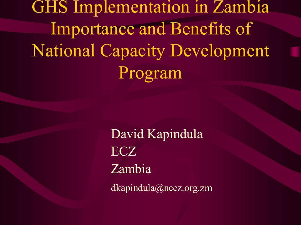 GHS Implementation in Zambia Importance and Benefits of National Capacity Development Program David Kapindula ECZ Zambia dkapindula@necz.org.zm