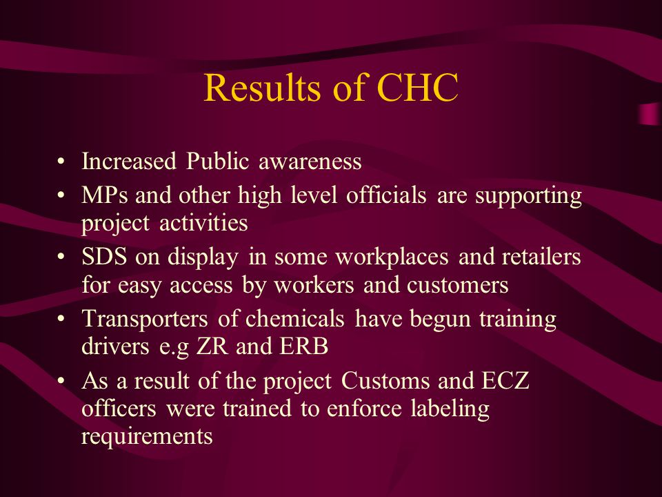 Results of CHC CHC to be introduced in curriculum of key educational institutions Development of an emergency Response System Two products withdrawn from the market due to improper labelling