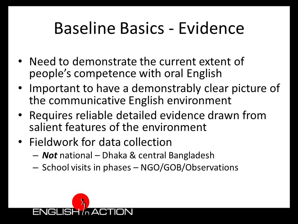 The Communicative Environment - support for sustainable practice Learning to communicate in English Benchmark spoken English ability Determine current classroom practices Establish extent of available teaching materials Detail opportunities for training & development Contextualise motivations & aspirations Comprehend communities of interest & influence Understand the key components of the technology environment