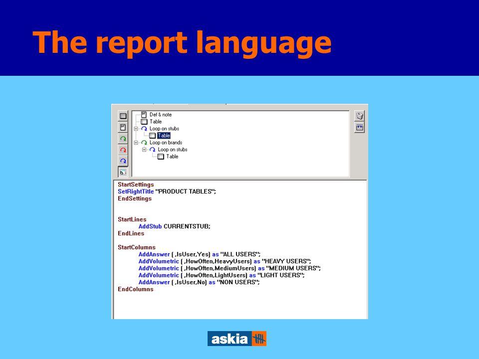 The report language