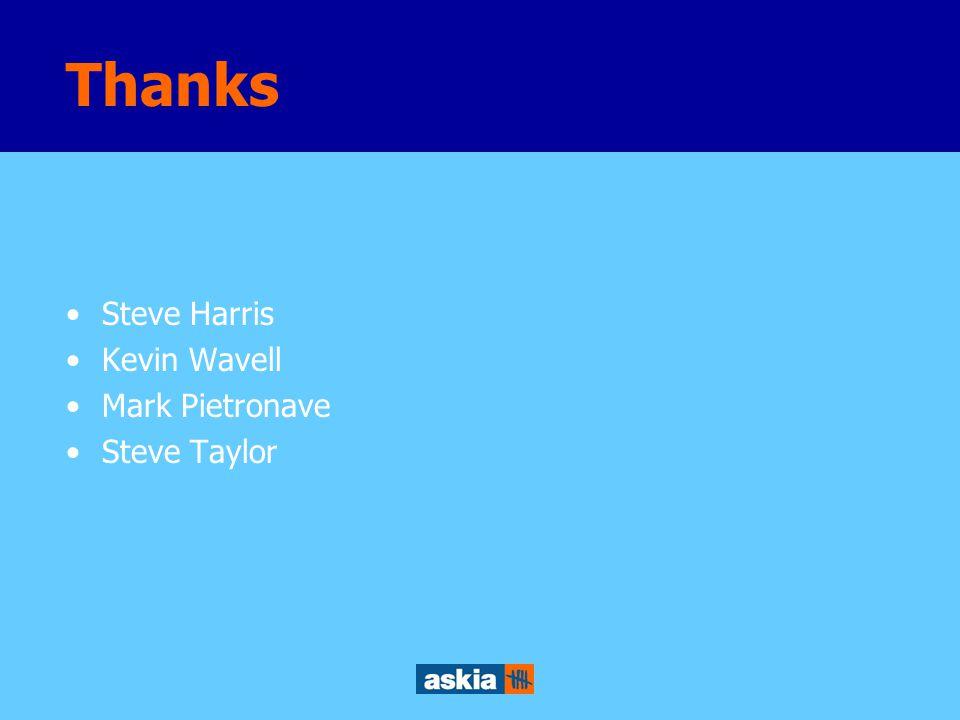 Thanks Steve Harris Kevin Wavell Mark Pietronave Steve Taylor
