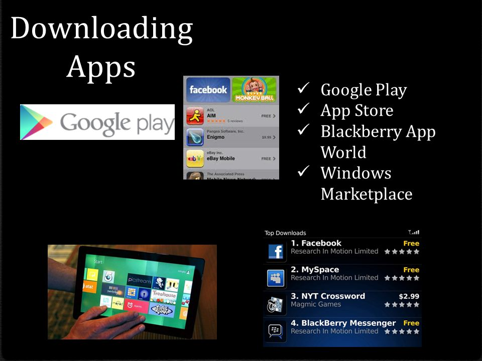Downloading Apps Google Play App Store Blackberry App World Windows Marketplace