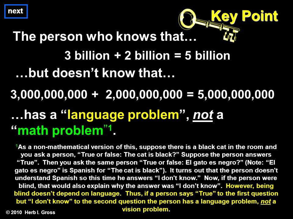 next The person who knows that… © 2010 Herb I. Gross Key Point 3 billion + 2 billion = 5 billion …but doesn't know that… 3,000,000,000 + 2,000,000,000