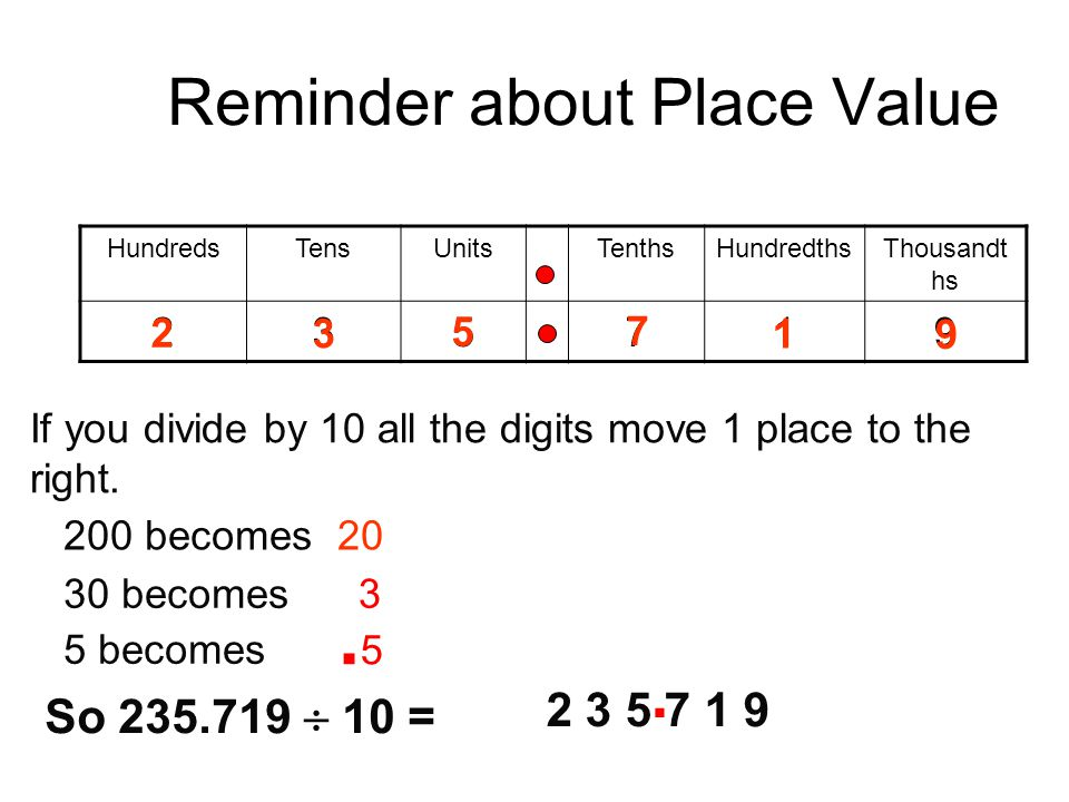 Reminder about Place Value HundredsTensUnitsTenthsHundredthsThousandt hs 235719 2 5 3 1 7 9 If you divide by 10 all the digits move 1 place to the rig