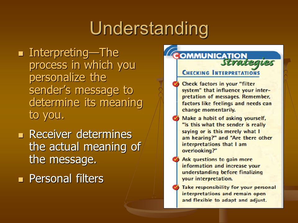 Understanding Interpreting—The process in which you personalize the sender's message to determine its meaning to you. Interpreting—The process in whic
