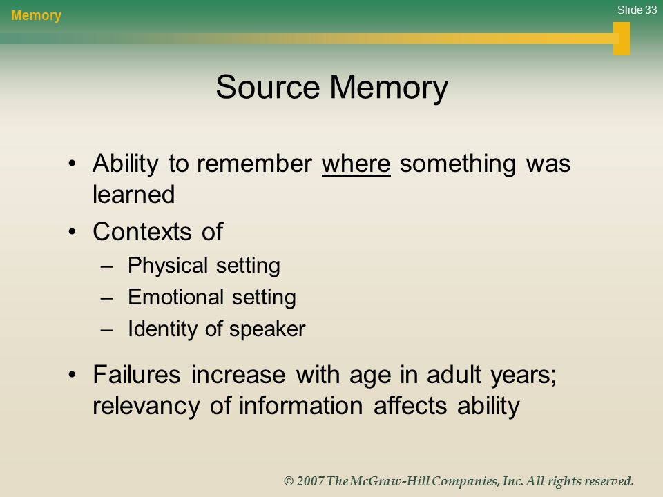 Slide 33 © 2007 The McGraw-Hill Companies, Inc. All rights reserved. Source Memory Ability to remember where something was learned Contexts of – Physi