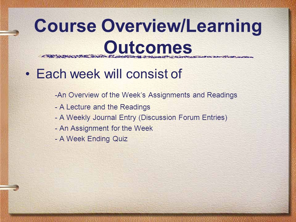 Course Overview/Learning Outcomes Each week will consist of -An Overview of the Week's Assignments and Readings - A Lecture and the Readings - A Weekl