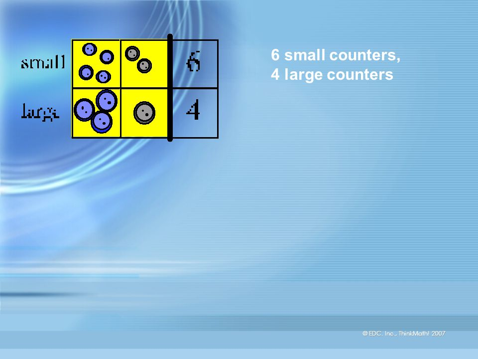© EDC. Inc., ThinkMath! 2007 6 small counters, 4 large counters