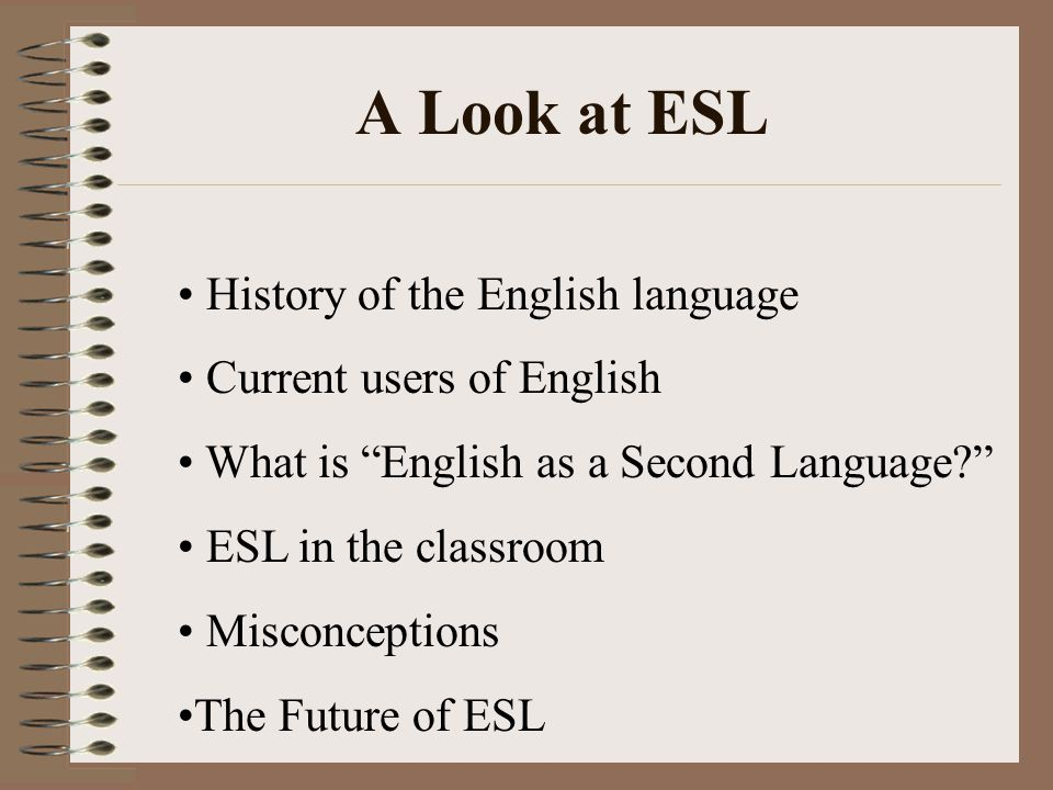 A Look at ESL History of the English language Current users of English What is English as a Second Language ESL in the classroom Misconceptions The Future of ESL