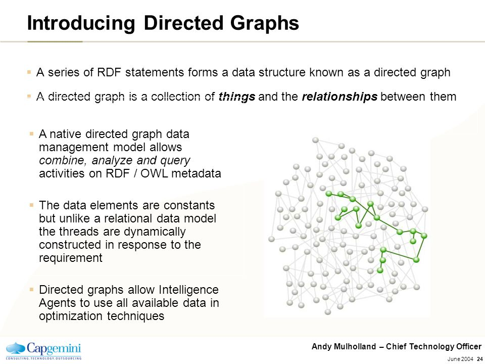Andy Mulholland – Chief Technology Officer June 200424 Introducing Directed Graphs  A series of RDF statements forms a data structure known as a dire