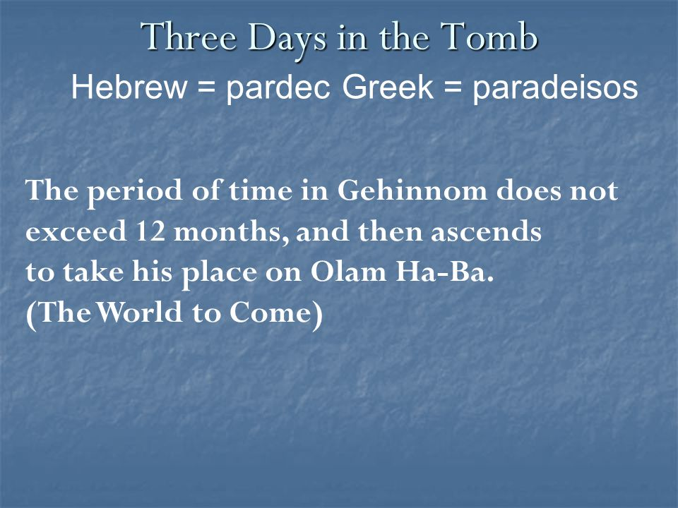 Three Days in the Tomb The period of time in Gehinnom does not exceed 12 months, and then ascends to take his place on Olam Ha-Ba. (The World to Come)