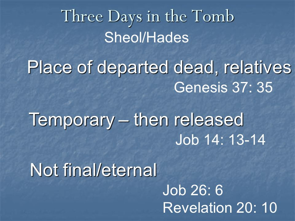 Three Days in the Tomb Job 26: 6 Revelation 20: 10 Place of departed dead, relatives Sheol/Hades Genesis 37: 35 Not final/eternal Temporary – then released Job 14: 13-14