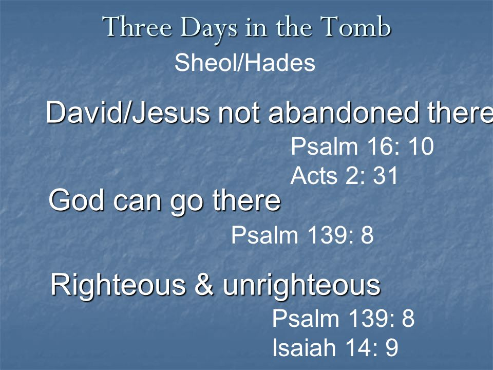 Three Days in the Tomb Psalm 139: 8 Isaiah 14: 9 David/Jesus not abandoned there Sheol/Hades Psalm 16: 10 Acts 2: 31 Righteous & unrighteous God can go there Psalm 139: 8
