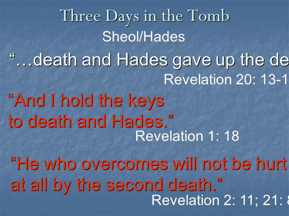 Three Days in the Tomb …death and Hades gave up the dead Sheol/Hades Revelation 20: 13-15 And I hold the keys to death and Hades. Revelation 2: 11; 21: 8 Revelation 1: 18 He who overcomes will not be hurt at all by the second death.