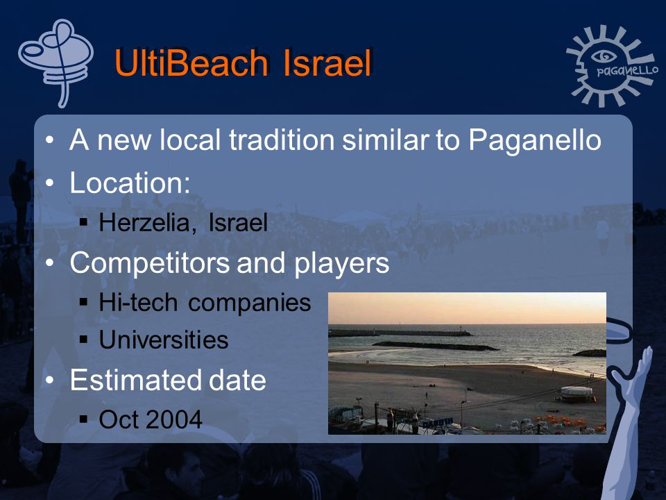 UltiBeach Israel A new local tradition similar to Paganello Location:  Herzelia, Israel Competitors and players  Hi-tech companies  Universities Estimated date  Oct 2004