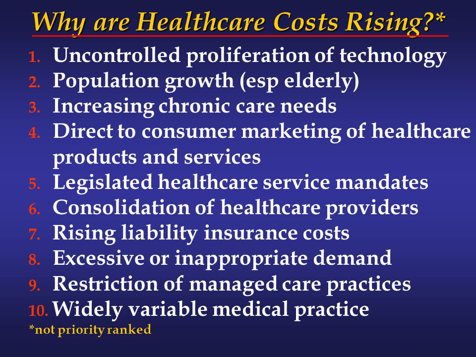 Why are Healthcare Costs Rising?* 1. Uncontrolled proliferation of technology 2. Population growth (esp elderly) 3. Increasing chronic care needs 4. D