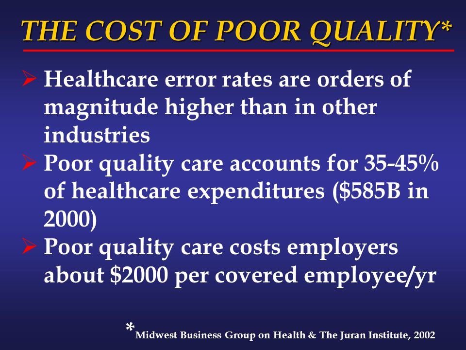 THE COST OF POOR QUALITY* THE COST OF POOR QUALITY*  Healthcare error rates are orders of magnitude higher than in other industries  Poor quality ca