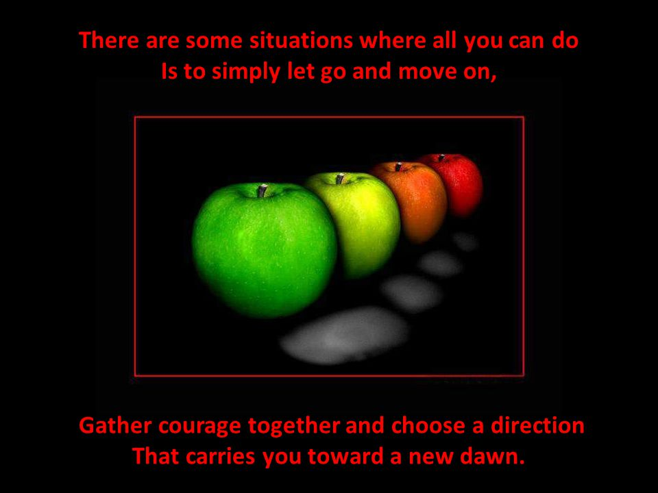 There are some situations where all you can do Is to simply let go and move on, Gather courage together and choose a direction That carries you toward a new dawn.