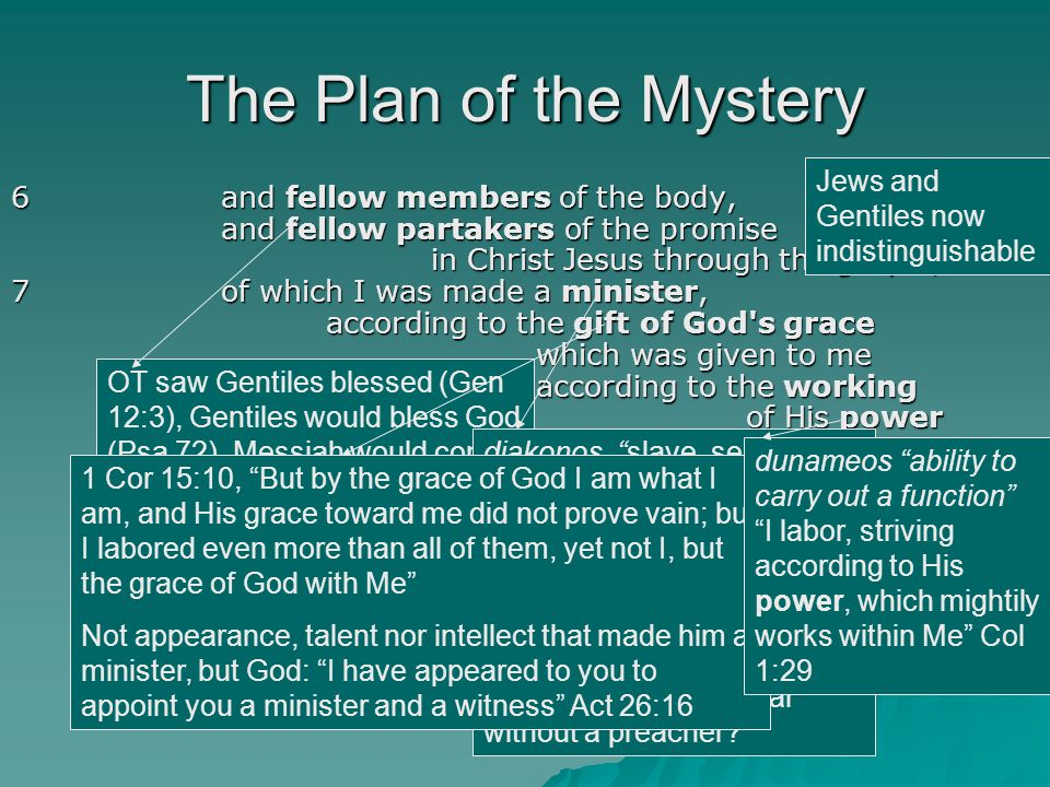 The Plan of the Mystery 6and fellow members of the body, and fellow partakers of the promise in Christ Jesus through the gospel, 7 of which I was made