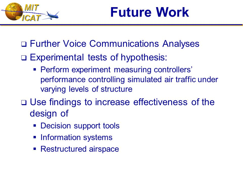 Future Work  Further Voice Communications Analyses  Experimental tests of hypothesis:  Perform experiment measuring controllers' performance controlling simulated air traffic under varying levels of structure  Use findings to increase effectiveness of the design of  Decision support tools  Information systems  Restructured airspace