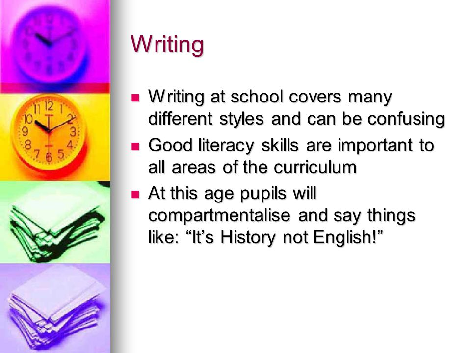 TOP TIPS FOR WRITING To encourage your child to become more independent help them to look up words in the dictionary To encourage your child to become more independent help them to look up words in the dictionary Encourage them to read their writing out loud to you so that they can hear what it sounds like and enable them to correct errors Encourage them to read their writing out loud to you so that they can hear what it sounds like and enable them to correct errors Alternatively they could try taping their writing and playing it back to help spot errors themselves Alternatively they could try taping their writing and playing it back to help spot errors themselves Planning can be helpful – there are lots of formats Planning can be helpful – there are lots of formats