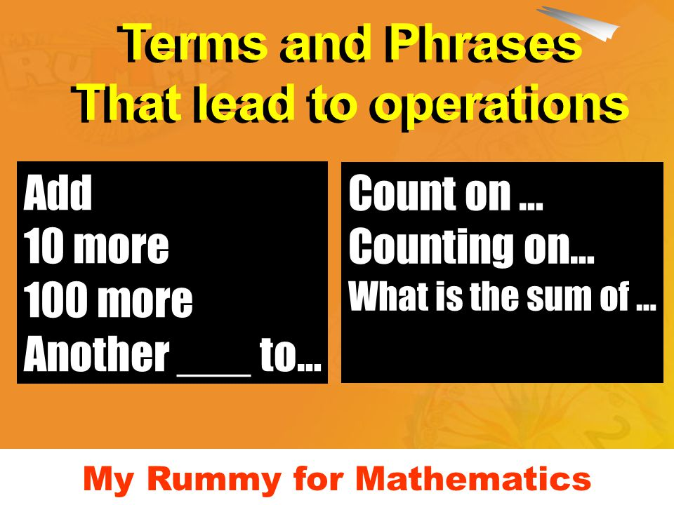 Add 10 more 100 more Another ___ to… Count on … Counting on… What is the sum of … Terms and Phrases That lead to operations Terms and Phrases That lea
