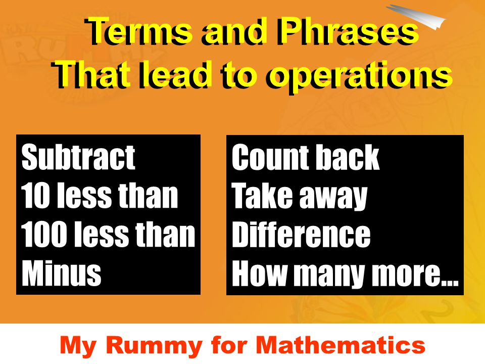 My Rummy for Mathematics Subtract 10 less than 100 less than Minus Count back Take away Difference How many more… Terms and Phrases That lead to operations Terms and Phrases That lead to operations