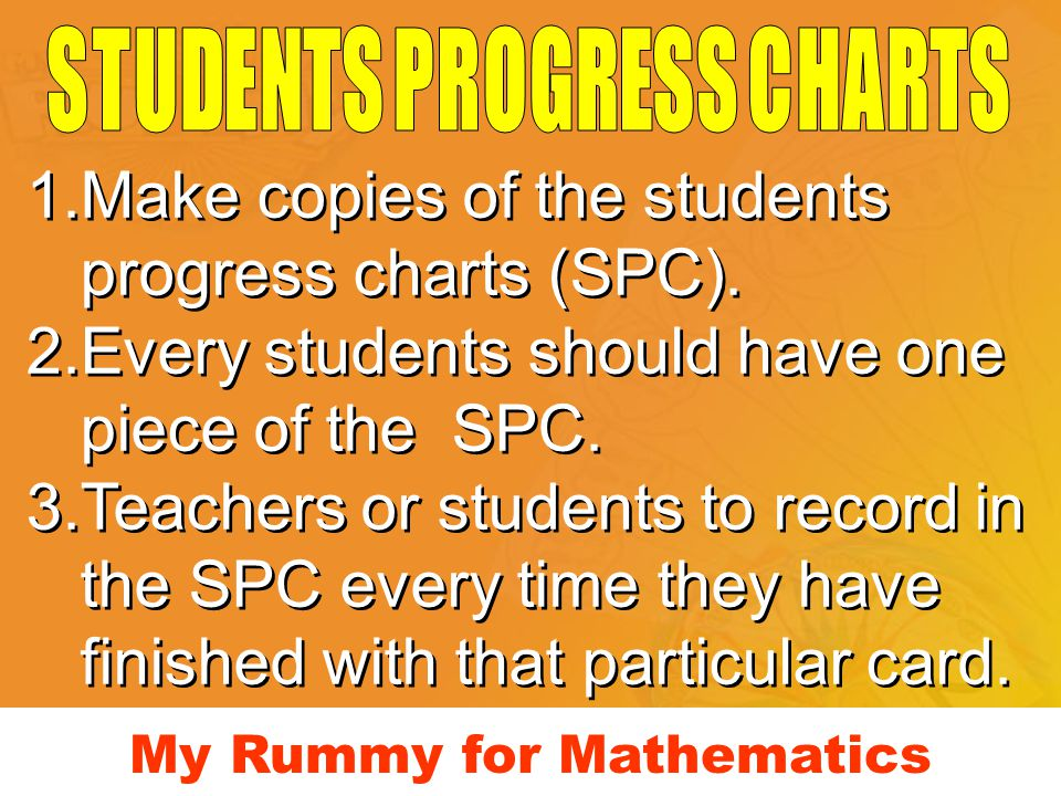My Rummy for Mathematics 1.Make copies of the students progress charts (SPC). 2.Every students should have one piece of the SPC. 3.Teachers or student