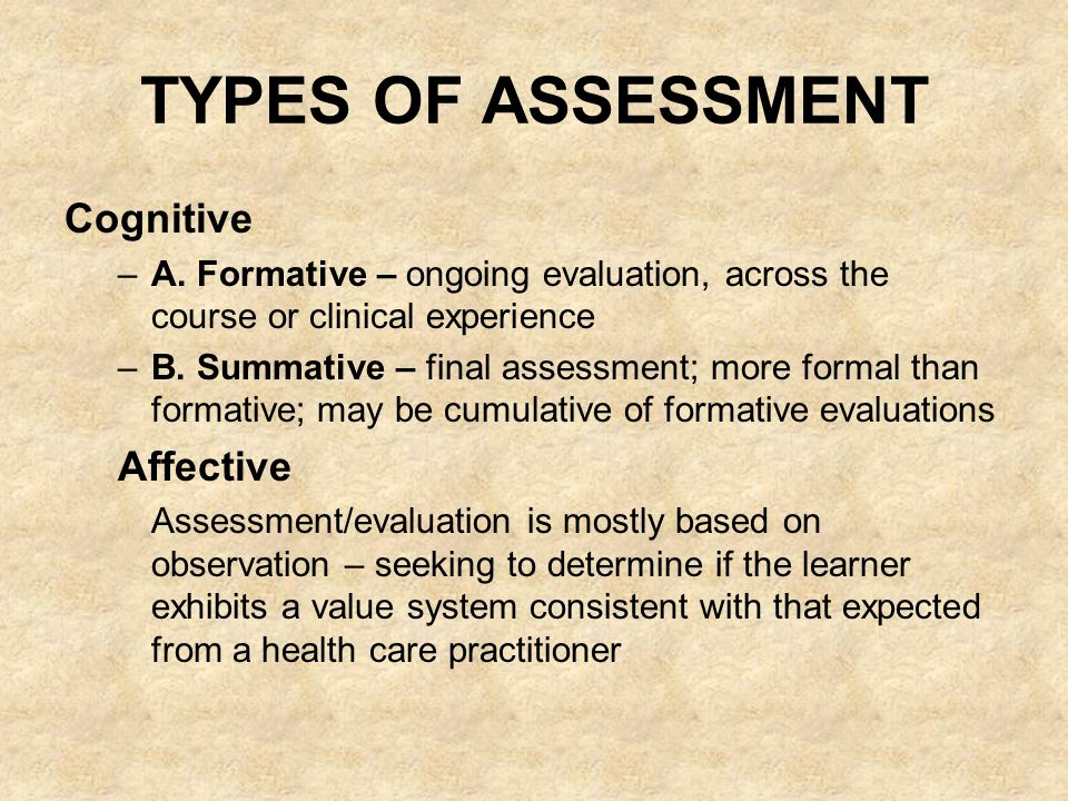 TYPES OF ASSESSMENT Cognitive –A.