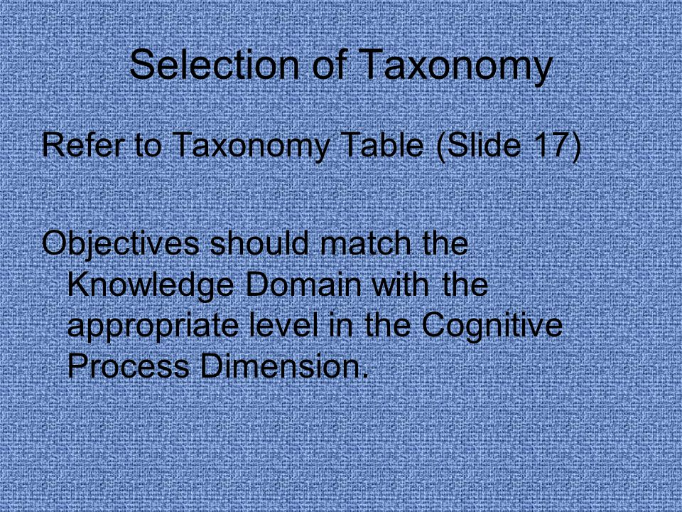 Selection of Taxonomy Refer to Taxonomy Table (Slide 17) Objectives should match the Knowledge Domain with the appropriate level in the Cognitive Process Dimension.