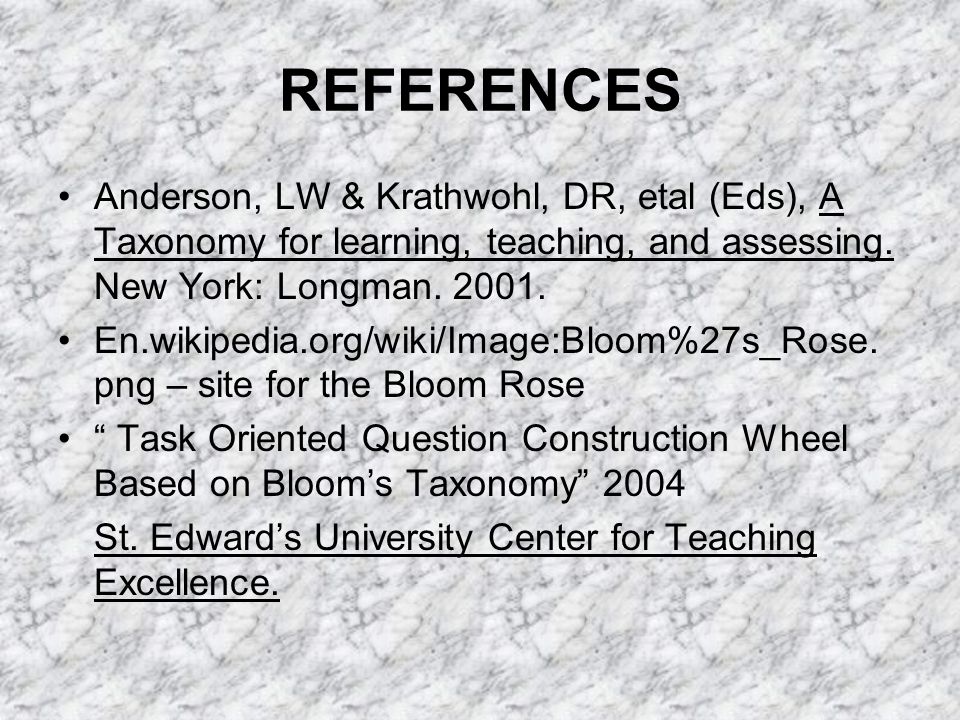 REFERENCES Anderson, LW & Krathwohl, DR, etal (Eds), A Taxonomy for learning, teaching, and assessing.