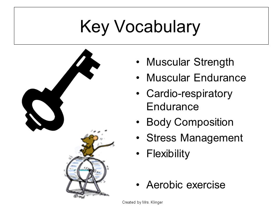 Created by Mrs. Klinger Key Vocabulary Muscular Strength Muscular Endurance Cardio-respiratory Endurance Body Composition Stress Management Flexibilit
