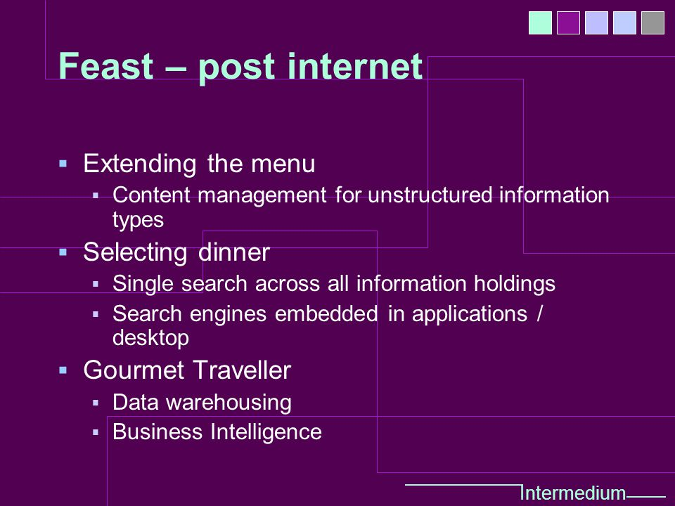 Intermedium Feast – post internet  Extending the menu  Content management for unstructured information types  Selecting dinner  Single search across all information holdings  Search engines embedded in applications / desktop  Gourmet Traveller  Data warehousing  Business Intelligence