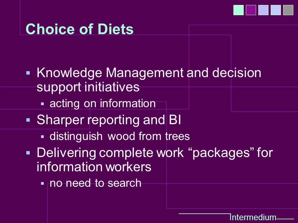 Intermedium Choice of Diets  Knowledge Management and decision support initiatives  acting on information  Sharper reporting and BI  distinguish wood from trees  Delivering complete work packages for information workers  no need to search