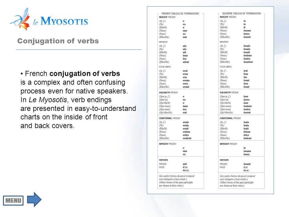 Conjugation of verbs French conjugation of verbs is a complex and often confusing process even for native speakers. In Le Myosotis, verb endings are p
