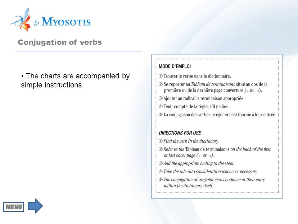 Conjugation of verbs The charts are accompanied by simple instructions.