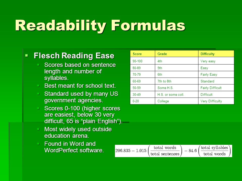 Readability Formulas  Flesch Reading Ease  Scores based on sentence length and number of syllables.