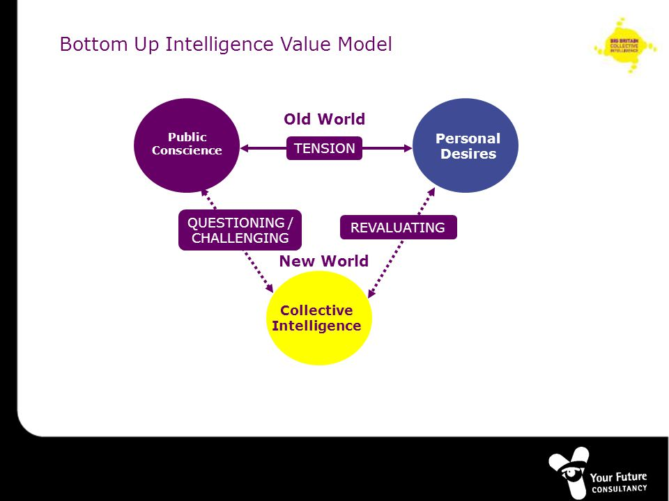 Collective Intelligence TENSION Personal Desires REVALUATING Old World New World Collective Intelligence QUESTIONING / CHALLENGING Public Conscience Bottom Up Intelligence Value Model