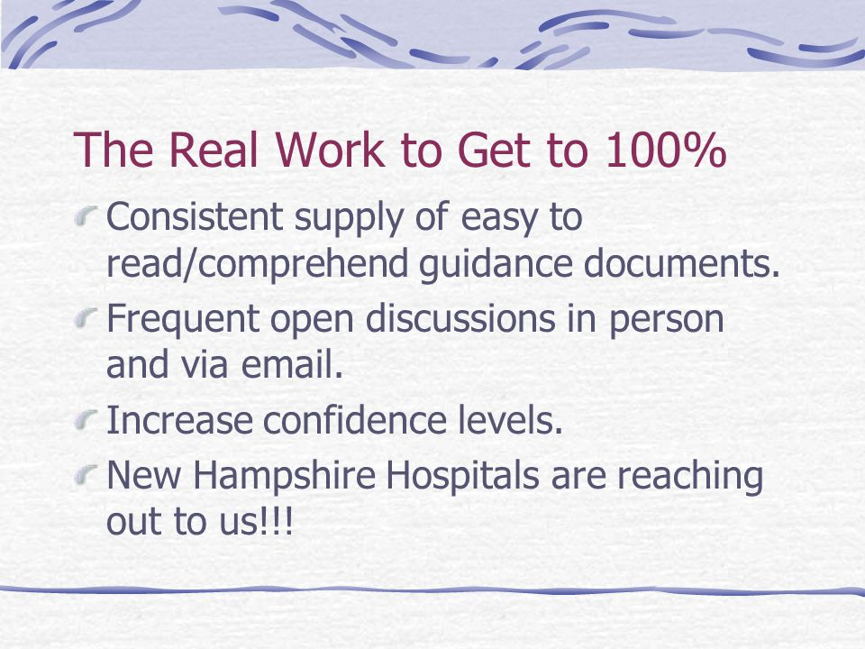 The Real Work to Get to 100% Consistent supply of easy to read/comprehend guidance documents.
