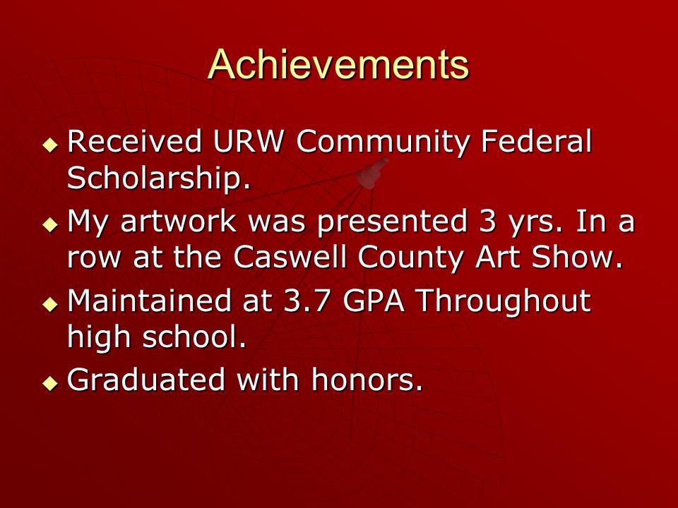 Achievements RRRReceived URW Community Federal Scholarship.