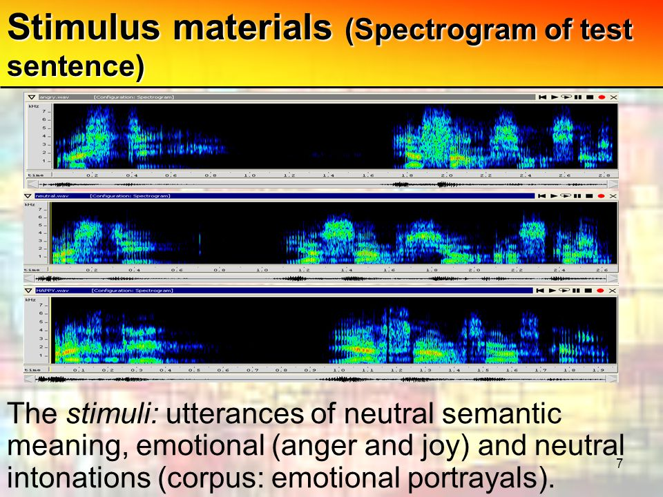 7 Stimulus materials (Spectrogram of test sentence) The stimuli: utterances of neutral semantic meaning, emotional (anger and joy) and neutral intonations (corpus: emotional portrayals).