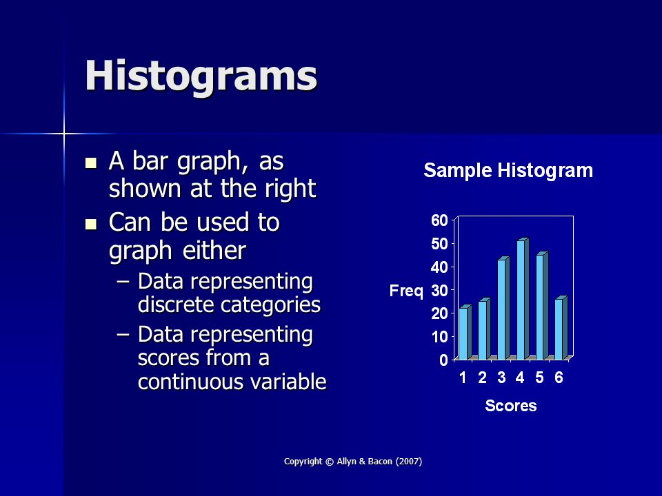 Copyright © Allyn & Bacon (2007) Histograms A bar graph, as shown at the right A bar graph, as shown at the right Can be used to graph either Can be used to graph either –Data representing discrete categories –Data representing scores from a continuous variable