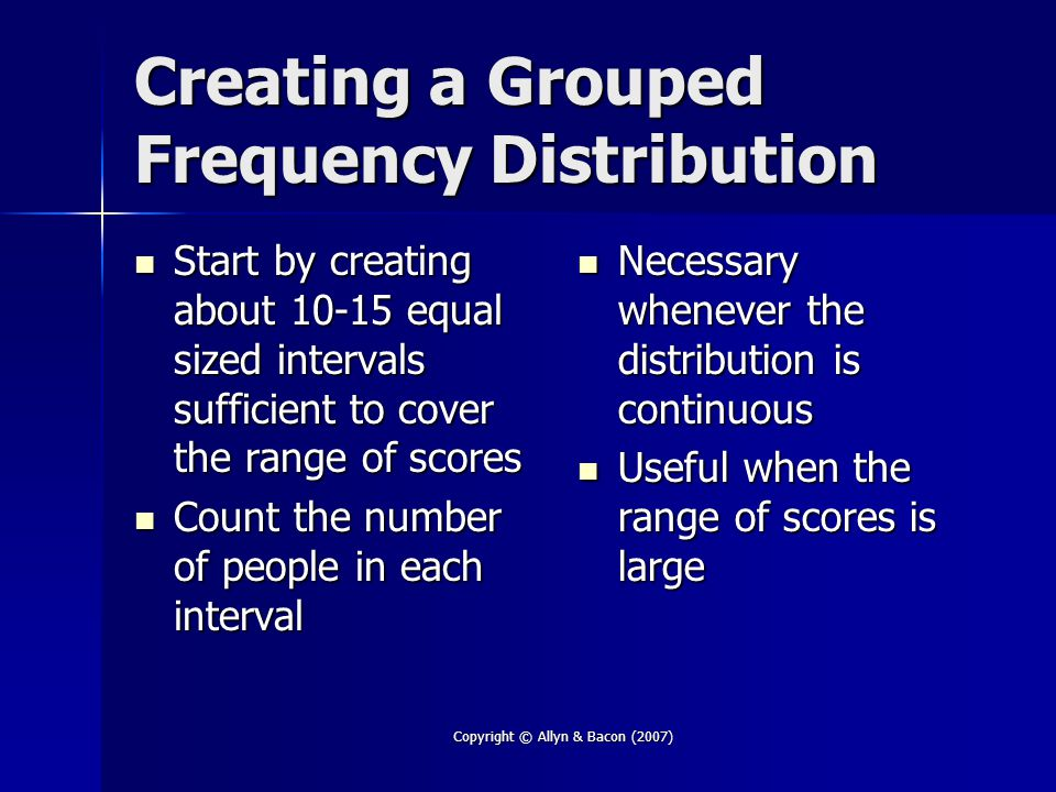 Copyright © Allyn & Bacon (2007) Effect Size Indication the size of the group differences Indication the size of the group differences Unlike the statistical test, the effect size is NOT affected by the size of the sample Unlike the statistical test, the effect size is NOT affected by the size of the sample More details on effect size More details on effect size –In Chapter 15 –On the Student Resource Website