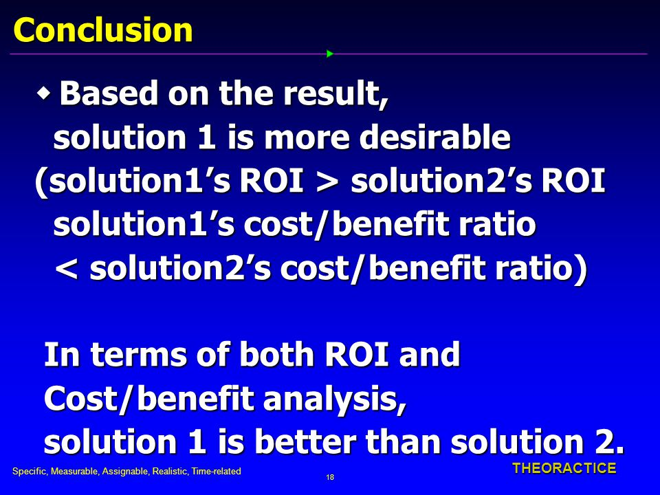 Specific, Measurable, Assignable, Realistic, Time-related 18 THEORACTICE Conclusion  Based on the result, solution 1 is more desirable solution 1 is more desirable (solution1's ROI > solution2's ROI solution1's cost/benefit ratio solution1's cost/benefit ratio < solution2's cost/benefit ratio) < solution2's cost/benefit ratio) In terms of both ROI and In terms of both ROI and Cost/benefit analysis, Cost/benefit analysis, solution 1 is better than solution 2.