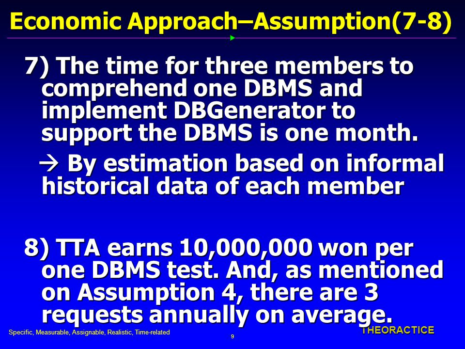 Specific, Measurable, Assignable, Realistic, Time-related 9 THEORACTICE Economic Approach–Assumption(7-8) 7) The time for three members to comprehend one DBMS and implement DBGenerator to support the DBMS is one month.