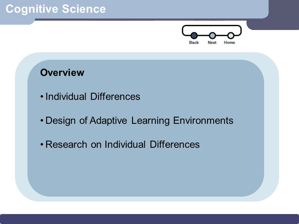 Scenario Cognitive Science Learning Styles -General tendencies to prefer to process information in different ways -Kolb (1975) (perceiving, processing) -Dunn & Dunn (1974) (environmental, sociological, emotional, physical variables) -Gregorc (1982) (perceiving, processing) Individual Differences