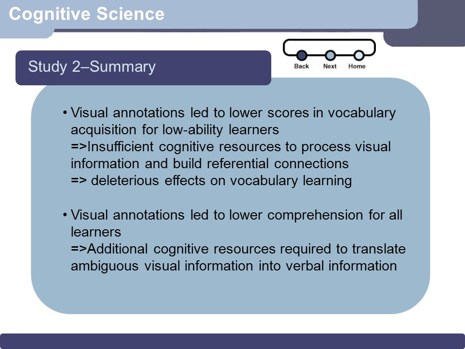 Cognitive Science Visual annotations led to lower scores in vocabulary acquisition for low-ability learners =>Insufficient cognitive resources to proc